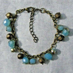 Jewelry - Brass Tone Faceted Glass Crystal Bracelet